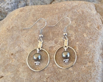 Simple Gunmetal Bead with Hoop Earrings