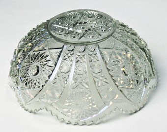 Vintage Pressed Glass Bowl Scalloped Sawtooth Rim Holiday Serving
