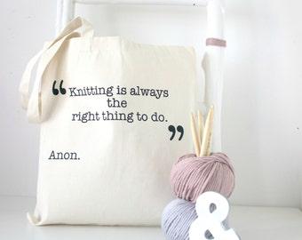Cream Knitting quote knitting tote