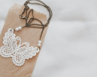 Pendant butterfly necklace, embroidery
