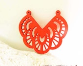 WP03 / # 4 Red / Wood Filigree Lace Dangle For Earring/ Laser Cut Lace Charm / Pendant / Romantic Chic Bohemian Filigree Dangle