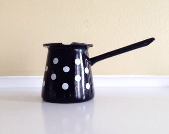 Butter Warmer/Turkish Coffee Ladle in Black with White Dots