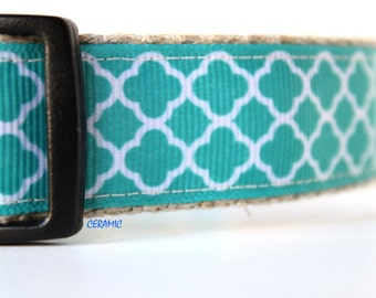 White & Teal Dog Collar, Stripe Dog Collar, Dog Collar, Adjustable Dog Collar, Pet Accessory, Girl Dog Collar, Pet Collar, Teal Collar