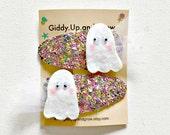 Halloween Hair Bow Ghost Hair Clips Fall, Halloween Kids Bows, giddyupandgrow