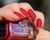 "Nail polish - ""Wrong side of Heaven"" True red linear holographic polish"