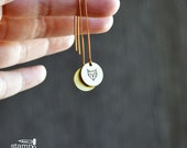 FOX earrings //round raw brass hook earrings // hand stamped jewelry