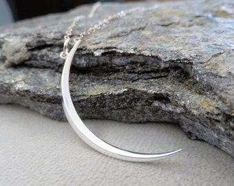 Skinny moon necklace, Crescent moon necklace, celestial jewelry, sterling silver, long chain available