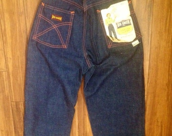 1950s deadstock Big Smith saforized shrunk ladies  dark blue jeans with side zipper. Womens xsmall