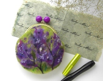 Wet Felted FLOWER Lilac Bushes coin purse Ready to Ship with bag frame metal closure Handmade  gift for her under 50 USD