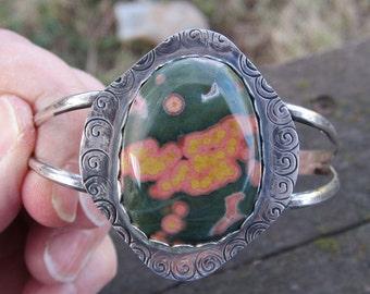 Ocean Jasper Sterling Silver Cuff Bracelet