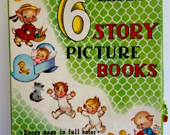 Vintage LINEN LIKE 6 Story Picture Books with Original BOX