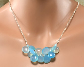 LP 1368   Blue Green Chalcedony Heart Clusters And Sterling Silver Necklace