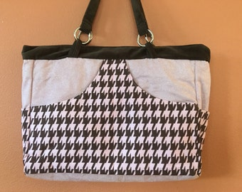 Phoebe 1555E  Pink and Chocolate Brown Houndstooth, Extra Large Purse, Extra Large Purses, Tote, Totes, Handbag, Handbags, Travel Bag, Bags