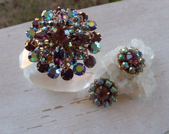 Vintage Aurora Borealis Brooch Pin and Earrings Set