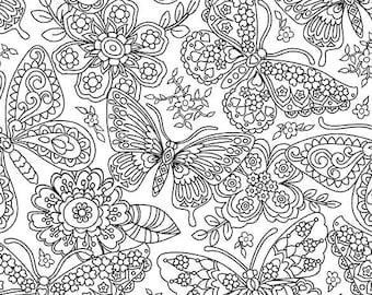 Papillion Paisley Butterfly and Flower Color Me Cotton Fabric, Color Me by Hayley Crouse for Michael Miller, 1 yard