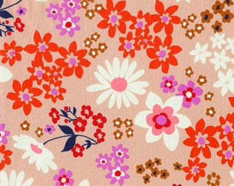 Peach Pink Red and Navy Floral Cotton Lawn Fabric, Playful by Melody Miller for Cotton and Steel, Vintage Floral Pink, 1 Yard