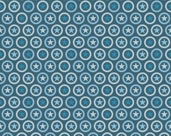 Two Tone Blue Circle Lucky Star Jersey Knit Fabric From Riley Blake Basics, 1 Yard