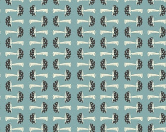 Blue Black and Cream Mushroom Fabric, Forest Floor by Bonnie Christine for Art Gallery Fabrics, Capped in Dim, 1 Yard