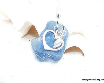 Sterling Sea Glass Necklace, Rare Cornflower Blue Sea Glass, Sea Glass Bottle, Sea Glass Jewelry, Sterling Heart Neckace
