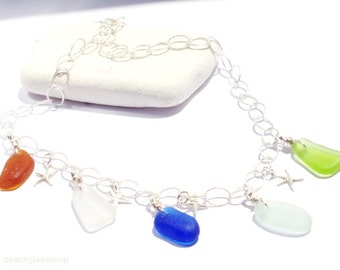 Lake Erie - Beach Glass Necklace  - Sterling Seaglass Necklace - FREE Shipping inside the United States