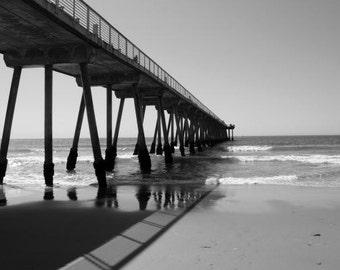 "Hermosa Beach Pier Black and White 11x14"" Photograph"