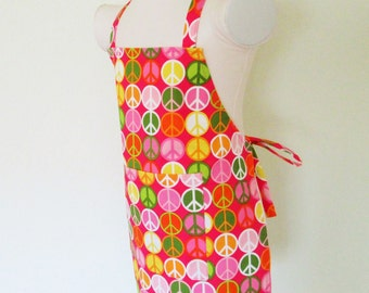 Childrens Apron - Peace Signs All Over this Vibrant Colorful Kids Apron, A fun apron for cooking, arts and crafts, painting, baking