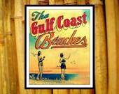 Old Florida Art GULF COAST BEACHES 8 x10 Vintage Florida 30a Destin Seaside beach house decor 1940s art vintage 30a red aqua yellow orange
