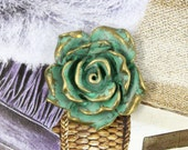 Metal Buttons - Rose Bloom Metal Buttons , Brass Cyan Color , 4 Shanks , 1.18 inch , 4 pcs