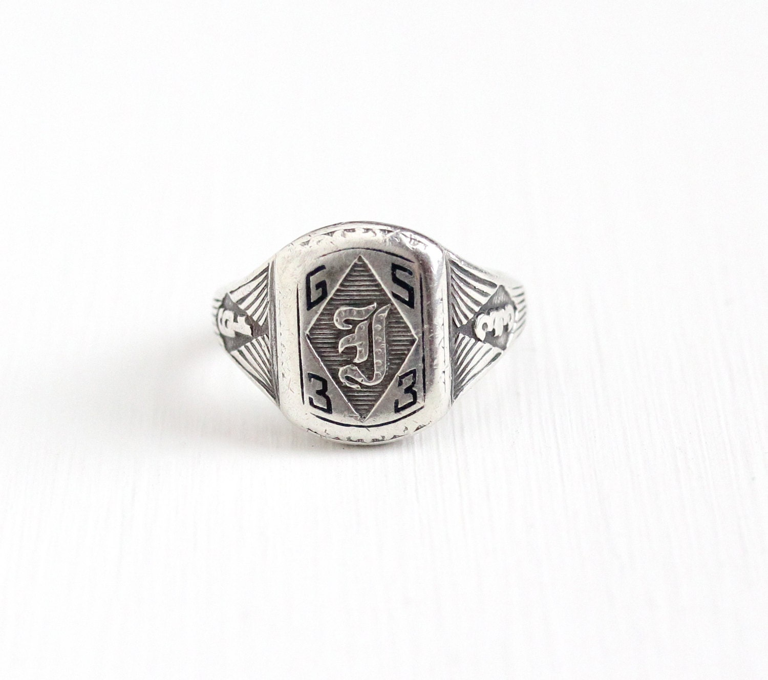 sale vintage sterling silver 1933 gs signet class ring