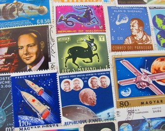 Final Frontier 50 Vintage Postage Stamps Space is the Place Moon Landing Nasa Cosmonaut Astronaut Planet Sun US Worldwide Astrophile Stars 2