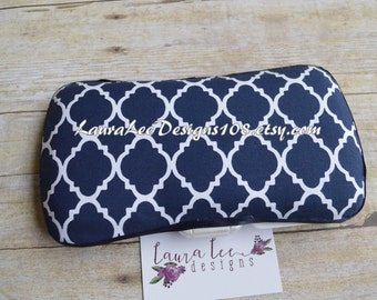 Navy Blue and White Lattice Quatrefoil Boutique Style Travel Baby Wipe Case by LauraLeeDesigns108