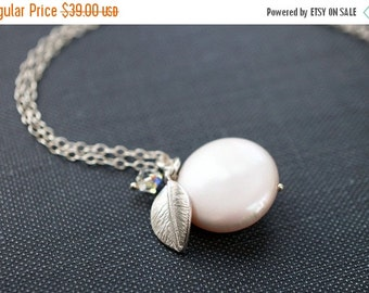 25OFFSALE Necklace, Pearl Necklace, Cream Necklace, Coin Pearl, Crystal Necklace, Freshwater Pearl, Silver Necklace, Swarovski, No. NS024