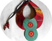 Handmade fabric neckwear, Striking African Bib necklace, One of a Kind Tribal Patchwork Collar, B Modiste, Unique statement piece, One size