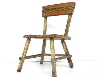 Vintage Chair / Childs Chair / Heavily Painted and Distressed / Shabby Chair / Eensy Weensy Tiny Chair / Beautiful Small Chair / Studio Prop