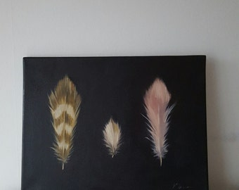 Three Feathers on Canvas 15.7 x 11.7 inch