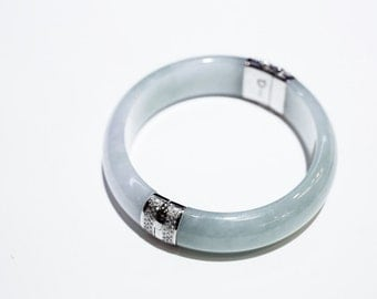 Icy Grain Blue Lavender and Light Green Jadeite Bracelet with 14k White Gold Accents, Hinge and Diamonds