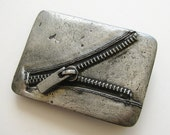 Vintage 70s Silver Zipper Novelty Rock & Roll Sticky Fingers Belt Buckle