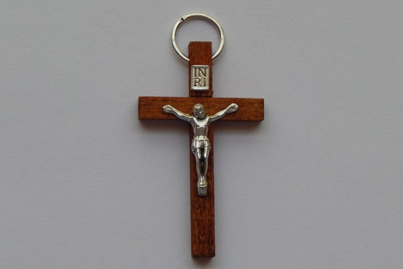 1 Pieces of Jewelry Crucifix Charm - 46mm 1.75 Inch, Walnut Wood, Medium Brown Color, Rosary Part, Finding, Cross, Religious, Silver, RR210