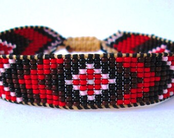 Huichol Native American Inspired, Black and Red Beaded Friendship Bracelet H