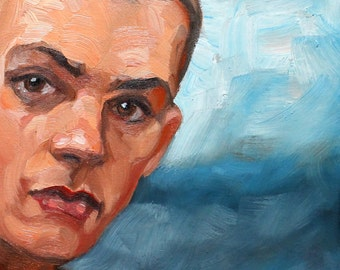 Shaved-Headed-Twink, 11x14 inches, oil on panel by Kenney Mencher (Gay Art)