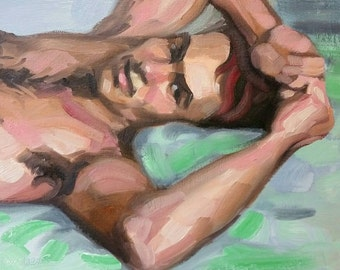 Handsome Young Man in Bed, oil on canvas panel 9 x 12 inches Kenney Mencher www.Kenney-Mencher.com