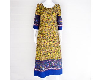 70s Maxi dress Folk fabric S/M