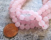 Rose Quartz Beads in Frosted Matte Pink, 5mm to 6mm, 1 Strand 15 Inches, Approx 60 Beads, Matte Gemstones, Round Stone Beads