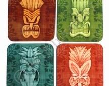Tiki Coasters, set of four, Tiki masks, hawaiian style, tropical coasters, Tiki Gift