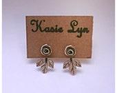 Rose/leaf frontsie Backsie post earrings