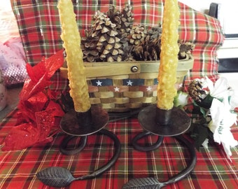 "TAPER CANDLES 7""Tall - Lovely Pair of GRUBBY Tapers - Your Choice of Color - Your Choice of Fragrance"