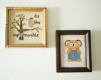 20% OFF — Vintage Hand Embroidered Possum and Rainbow Koala Wall Decor