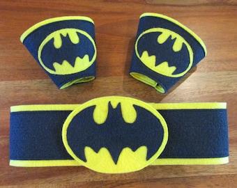 Batman Belt with matching Wrist Cuffs /  Batman / Batgirl / Custom / Kids costume