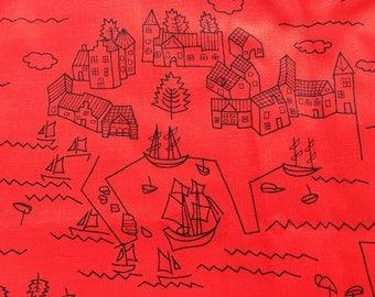 Vintage Fabric Red Seaside Village Scene Ships