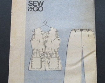 UNCUT Butterick Pattern 3913 Sew & Go Misses Pants and Vest Size 12 Vintage 1970s